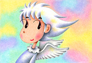 Mascot Drawings Framed Prints - Rainbow Angel Framed Print by T Koni