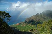 Kalalau Rainbow Framed Prints - Rainbow at Kalalau Valley Framed Print by James Eddy