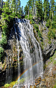 Mt Rainier Stream Framed Prints - Rainbow At Narada Falls Framed Print by Sarah Schroder