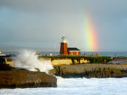 Steamer Lane Framed Prints - Rainbow at Santa Cruz Lighthouse Framed Print by Randy Straka