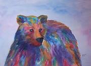 Fanciful Metal Prints - Rainbow Bear Metal Print by Ellen Levinson