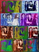 The Beatles. Celebrity Portraits Prints - Rainbow Beatles Collage Print by Joan-Violet Stretch