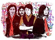 Beatles Mixed Media - Rainbow Beatles Series Stressed Beatles Red by Joan-Violet Stretch