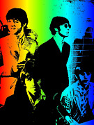 Beatles Digital Art - Rainbow Beatles by Stephen Lawrence Mitchell