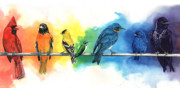Chakra Rainbow Painting Prints - Rainbow Birds Print by Antony Galbraith