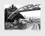 Pen And Ink Drawing Art - Rainbow Bridge La Connor W A by Jack Pumphrey