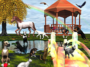 Dogs Digital Art Originals - Rainbow Bridge by Michele Wilson