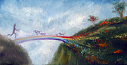 Heaven Painting Framed Prints - Rainbow Bridge Framed Print by Stella Violano