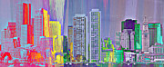 Brandi Fitzgerald Mixed Media - Rainbow Buildings in Boston by Brandi Fitzgerald