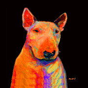 Bull Terrier Paintings - Rainbow Bull Terrier by Dale Moses
