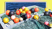 Rainbow Buoys Print by Barbara Griffin
