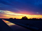 Sunsets Prints - Rainbow Canal Sunset Print by JaqStone