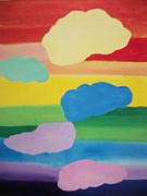 Chakra Rainbow Painting Originals - Rainbow Chakra Healing Clouds by Leonardo Vidal