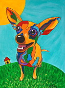 Doghouse Framed Prints - Rainbow Chihuahua Framed Print by Ines Smrz