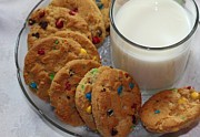 Cookies And Milk Prints - Rainbow Cookies and Milk 2 - Food Art - Kitchen - Children Print by Barbara Griffin