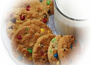 Cookies And Milk Prints - Rainbow Cookies and Milk - Food Art - Kitchen Print by Barbara Griffin