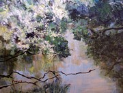 Reflections Of Sky In Water Paintings - Rainbow Creek by Mary Lynne Powers