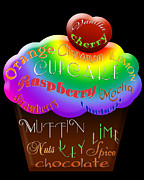 Cherry Art Mixed Media Prints - Rainbow Cupcake Typography Print by Andee Photography