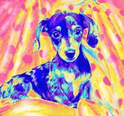 Rainbow Dachshund Print by Jane Schnetlage