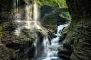 Watkins Glen State Park Prints - Rainbow Falls Print by Bill  Wakeley