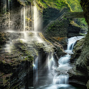 Watkins Glen Posters - Rainbow Falls Square Poster by Bill  Wakeley