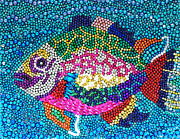 Blow Mixed Media Prints - Rainbow Fish - Beaded Print by Katie Farmer