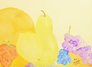 Grapefruit Painting Prints - Rainbow Fruits and the Floating Lemon Print by Ann Michelle Swadener