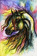 Horse Drawings Posters - Rainbow Horse 2 Poster by Angel  Tarantella