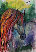 Horse Drawing Painting Prints - Rainbow Horse 3 Print by Angel  Tarantella