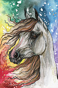 Horse Drawing Framed Prints - Rainbow Horse 5  Framed Print by Angel  Tarantella