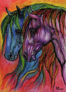 Wild Horse Drawings Posters - Rainbow Horses Poster by Angel  Tarantella