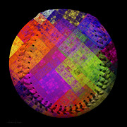 Baseball Digital Art Metal Prints - Rainbow Infusion Baseball Square Metal Print by Andee Photography
