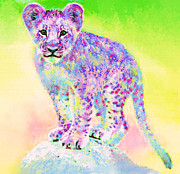 Kids Room Posters - Rainbow Lion Cub Poster by Jane Schnetlage