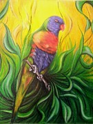 Woodland Pastels Originals - Rainbow Lorikeet by Carlos Perez