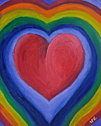 Human Rights Painting Prints - Rainbow Love Print by Victoria Lakes