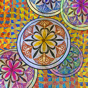 Mosaic Art Mixed Media Posters - Rainbow Mosaic Circles and Flowers Poster by Tony Rubino
