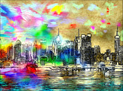 New York City Skyline Digital Art Framed Prints - Rainbow NYC Skyline Framed Print by Daniel Janda