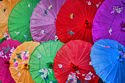 Rain Ceramics Metal Prints - Rainbow Of Parasols   Metal Print by Alexandra Jordankova