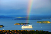 Rain Cloud Posters - Rainbow on the ship in Acadia National Park Maine Poster by Paul Ge