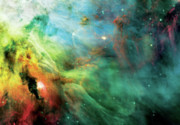 Solar System Art - Rainbow Orion Nebula by The  Vault