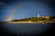 Baker Island Posters - Rainbow over Baker Island Light Poster by Jeff Folger