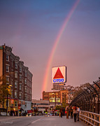 Boston Sox Prints - Rainbow over Fenway Print by Paul Treseler