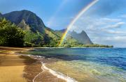 Tunnels Beach Prints - Rainbow over Haena Beach Print by M Swiet Productions