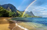 Rainbow Over Haena Beach Print by M Swiet Productions