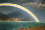 American School; (19th Century) Framed Prints - Rainbow Over Jenny Lake Wyoming Framed Print by Albert Bierstadt