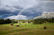 Shower Posters - rainbow over Karwendel mountain range in Bavaria Poster by Olha Rohulya