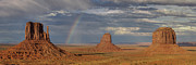 Panorama Photos - Rainbow over Monument Valley by Patrick Jacquet
