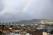Colorful Buildings Posters - Rainbow over Oslo Poster by Carol Groenen