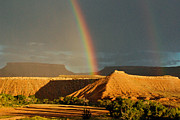 Rainbow Over The Virgin River And Gooseberry Mesa Near Virgin Utah Print by Robert Ford