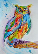 Colorful Owl Paintings - Rainbow Owl by Beverley Harper Tinsley